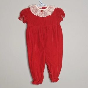 Vintage Roanna Red Girls Holiday Christmas Outfit